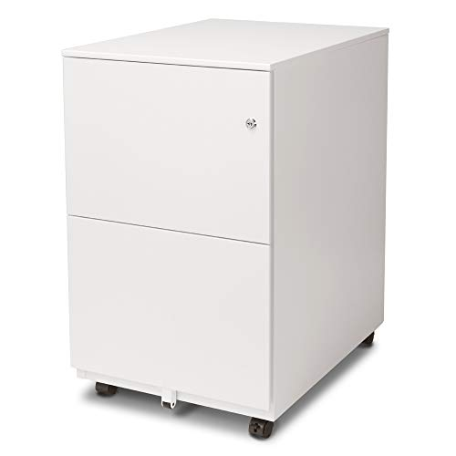 Aurora FC-102WT Modern Soho Design 2-Drawer Metal Mobile File Cabinet with Lock Key/Fully Assembled, - File Mobile 2 Cabinet Drawer