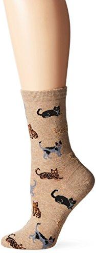 Hot Sox Women's Originals Classics Novelty Crew Socks, Cats (Hemp), Shoe Size: 4-10 Classic Cotton Crew Socks