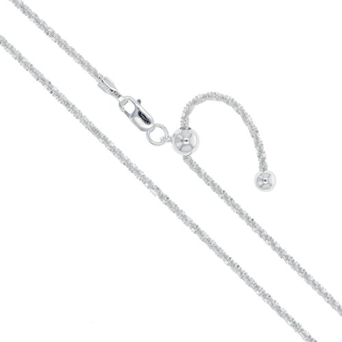Sterling Silver Adjustable Diamond-Cut Popcorn Chain 1.8mm 925 New Criss Cross Necklace ()