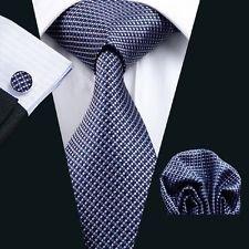 Dan Smatree Wedding Necktie Blue Bussiness Men Tie Hankerchief Cufflinks Set