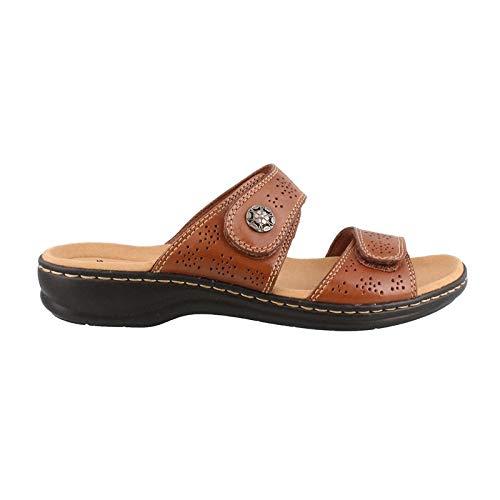 CLARKS Women's Leisa Lacole Slide Sandal, Tan Leather, 9.5 W -