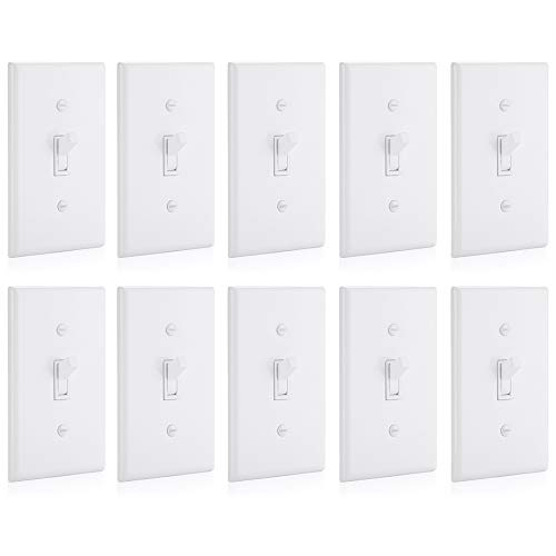 BESTTEN 3-Way Toggle Light Switch with Cover, 15 Amp 120/27