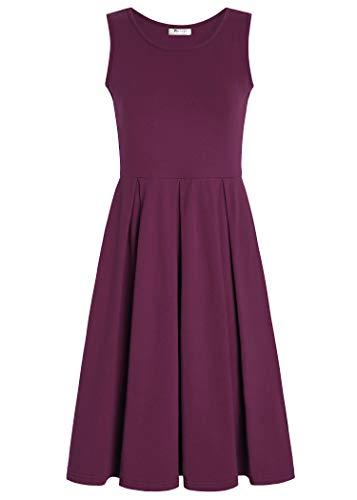 PintageWomen's Sleeveless Pleated Swing Casual Dress XL Plum ()
