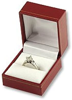 1 x Leatherette Double Ring Gift Box Jewellery Double Ring Wedding Rings Box