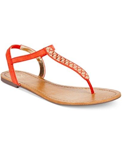 Material Girl Sage T-strap Flat Thong Sandal Tangerine (Canvas T-strap Sandals)