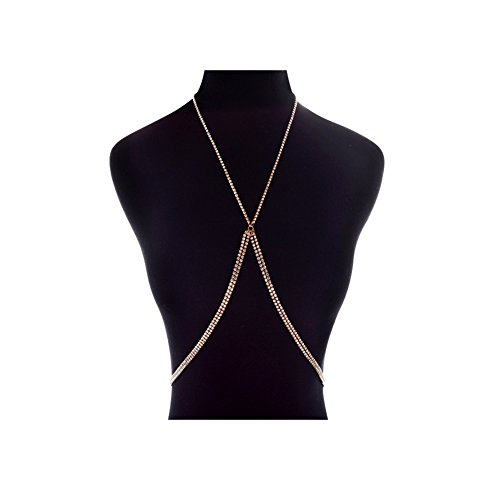 J.Mmiyi Alloy Rhinestone Chest Belly Chain Cross Simple Concise Beach Series KH-3610 For Women,Gold