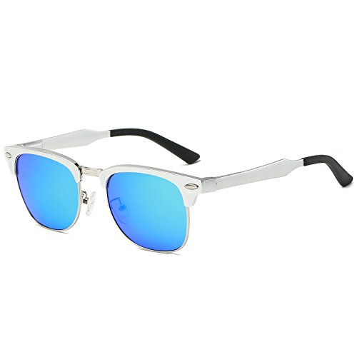 Galulas Classic Retro Square Semi-rimless Clubmaster Women and Men Sunglasses Al-Mg Polarized Eyewear Frames Mirrored Reflective REVO Lenses Driving Shades (Silver Frame Ice Blue Lens, - Sunglasses Guy