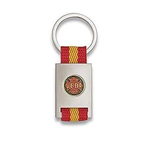 Tiendas LGP Albainox- Llavero Bandera DE ESPAÑA y Emblema Fire Fighter FD, Plateado 18