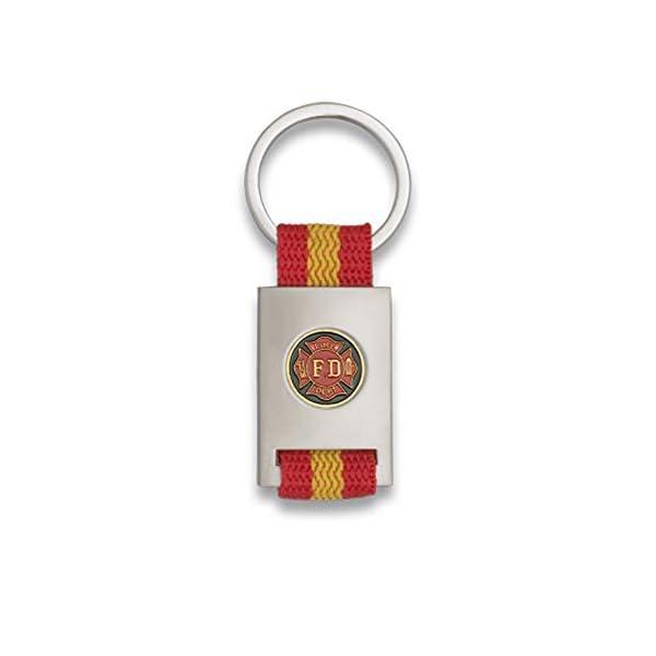 Tiendas LGP Albainox- Llavero Bandera DE ESPAÑA y Emblema Fire Fighter FD, Plateado 1
