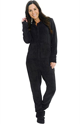 Alexander Del Rossa Womens Fleece Onesie, Hooded Footed Jumpsuit Pajamas, Small Black (A0322BLKSM)