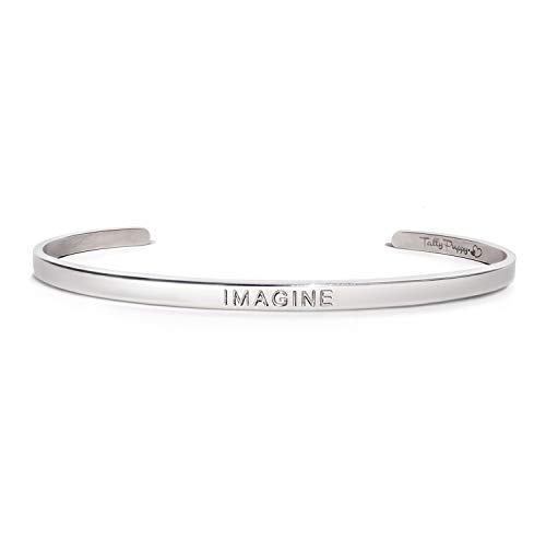 Tally Puppy Mantra Bangle Cuff Bracelet Engraved - Imagine - Inspirational Gifts for Women, Stainless Steel Jewelry, Gift for Teen, Girls ()