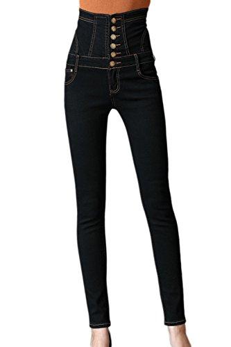 Les Femmes L'hiver Plus pais De Lacets lastiques Taille De Jeans Skinny Jeans Black
