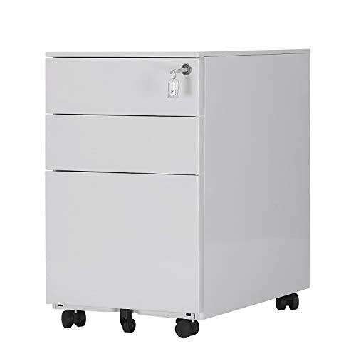 Soges 3-Drawer Rolling Mobile File Cabinet with Lock,Wheels Assemble Needed, White ZHCBN001-W
