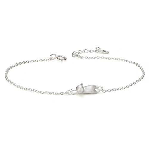 EVER FAITH 925 Sterling Silver Lovely 3D Hanging Cat Animal Adjustable Link Bracelet Chain 6.6 Inch