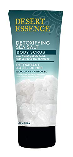 Desert Essence Detoxifying Sea Salt - Body Scrub - 6.7 fl oz - Low Foaming Body Polish with Jojoba & Sweet Almond - Smooth & Soften Skin - Sea Salt - Shea Butter - Biff Away Dead Skin Cells