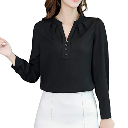 Pervobs Cute & Sweet Women Work Shirts Summer Solid Long Sleeve Crew Neck Button Office T-Shirt Top Blouse Blusa(L, Z03-Black) ()