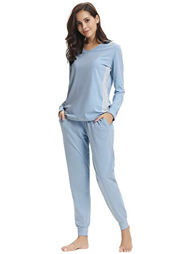 69f21396b6e1d Hawiton Women s Cotton Pajama Set Long Sleeve Lace V Neck Sleepwear  Nightgowns