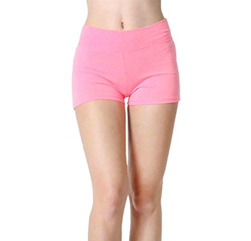 Belle Donne Womens Cotton Yoga Shorts - Foldover Cotton Spandex Girls Bike Running Boyshorts by Neon Pink Large