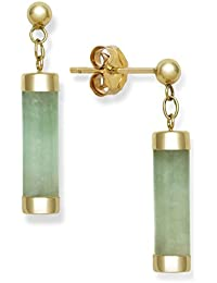 14k Yellow Gold Natural Green Jade Drop Dangle Earrings