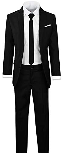 Black n Bianco Signature Boys' Slim Fit Suit in Black Size 12 -