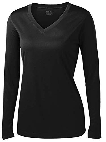 - Joe's USA - Ladies Long Sleeve Moisture Wicking Athletic Shirts, Black Small