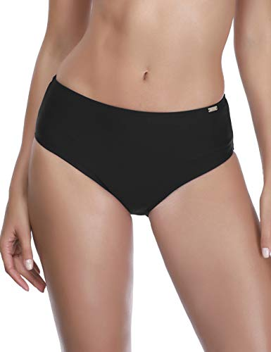 AXESEA Womens Swim Bottoms High Waist Thong Bikini Swimsuit Swim Brief,Black-L,Full Coverage