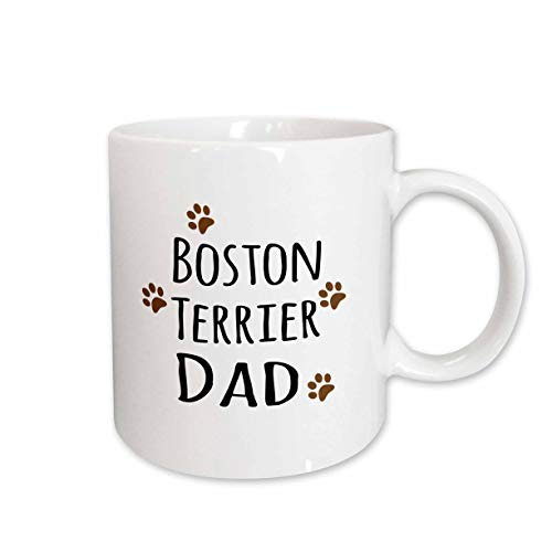 3dRose 153870_1 Boston Terrier Dog Dad Mug, 11 oz, Ceramic ()