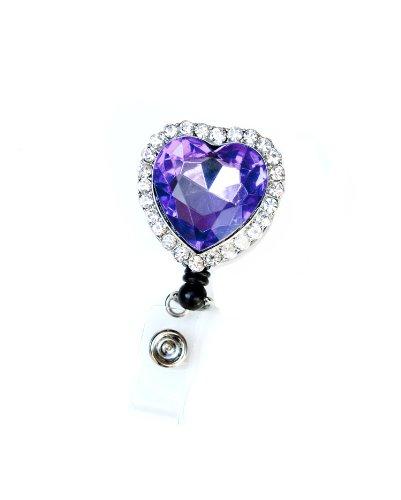 Colorful Diamond Heart Rhinestone Retractable Badge Reel / ID Badge Holder (Purple) Photo #3