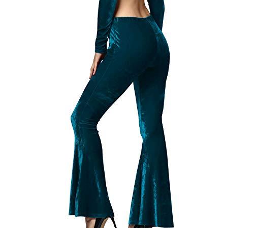 Flare Pantaloni Sottile Lunga Pants Verde Velluto Moda Monika Donne Trousers Eq7w1wH
