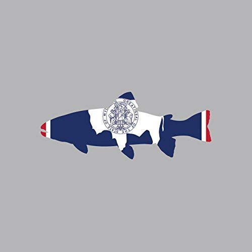 Wyoming State Shaped Trout Sticker Vinyl Decal Sticker WY Fly Fishing Fish Made in USA