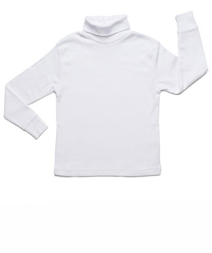 Leveret Solid Turtleneck 100% Cotton (9-10 Years, White)