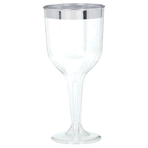 CLEAR Silver-Trimmed Premium Plastic Wine Glasses 8ct Amscan 351004