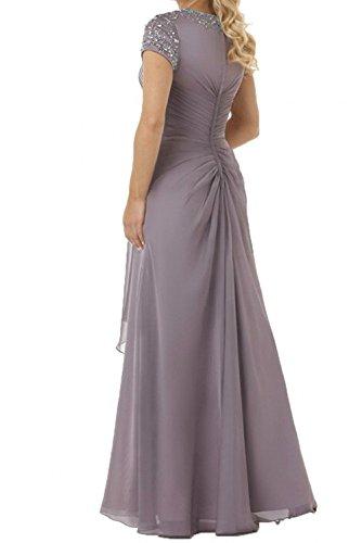Damen Chiffon Braun Abendkleider mit A Hell Pailletten Partykleider Charmant Lang Brautmutterkleider Linie Elegant CBdwfxf