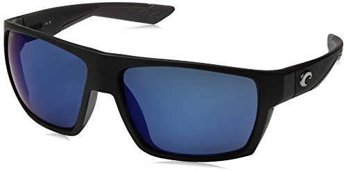 Costa del Mar Men's Bloke Polarized Iridium Square Sunglasses, Matte Black + Matte Gray, 61.2 - Lens Costa Colors
