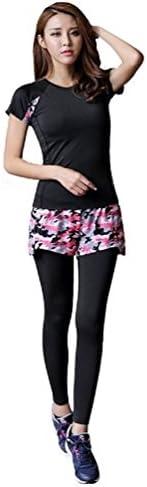 (ファースト)FAST ヨガウェア ピンク 迷彩 カモフラ ショートパンツ 付き ロングタイツ レギンス 吸汗速乾 ダンス 体操 ランニング フィットネス ジム トレーニング ウェア スパッツ 一体型 プレミアム パンツ