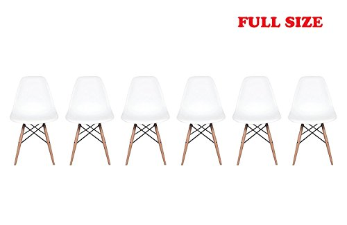 Inspirer Studio Set of 6 New 17 inch SeatDepth Eames Style Side Chair with Natural Wood Legs Eiffel Chair Shell Top - Set Deco Chair Art
