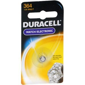 Price comparison product image Duracell D364BPK09 Silver Oxide Electronic Watch Battery,  364 Size,  1.55V,  18 mAh Capacity (Case of 6)