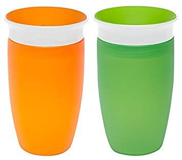 Munchkin Miracle 360 Sippy Cup, Orange/Green, 10 Ounce, 2 Count by Munchkin
