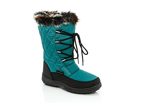 SNOW TEC Womens Frost2 Quilted Faux Fur-Lined Lace Up Winter Snow Boots Teal Size 7