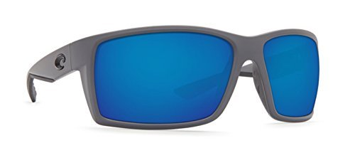 Costa del Mar Men's Reefton Polarized Iridium Rectangular Sunglasses, Matte Gray, 63.7 mm by Costa Del Mar