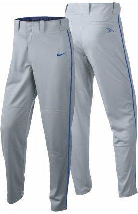 (Nike Boys Swingman Dri-FIT Piped Baseball Pants (Grey/Royal, Medium))