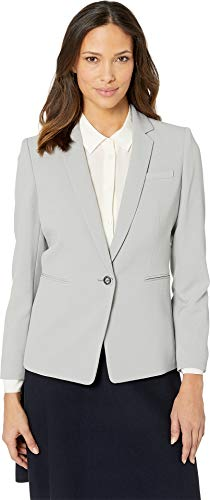 Tahari by ASL Women's Pebble Crepe One-Button Jacket Silver/Grey 4