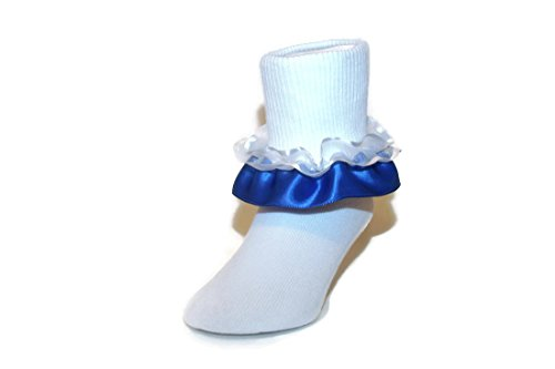 (Girls Ruffle Ankle Socks with Satin & Organza in Assorted Colors (5-6.5 Toddler, Royal Blue))