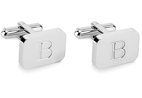 White-Gold Plated Monogram Initial Engraved Stainless Steel Man's Cufflinks With Gift Box -Personalized Alphabet Letter's By Lux & Pier (B- White Gold)