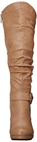 Top Moda Damen Kniehohe Stiefel mit Schnürung Bräunen