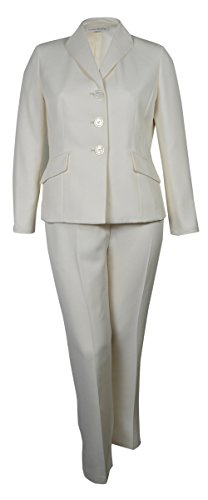 Evan Picone Women's City Chic Textured Three Button Pant Suit (8, Ivory) by Evan Picone (Image #4)'