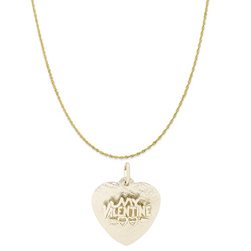 Rembrandt Charms 10K Yellow Gold Be My Valentine Charm on a Twist Curb Chain Necklace, 18'' by Rembrandt Charms