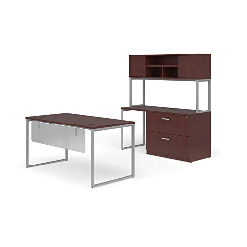 "OFM FUL-PKG-2071-MHG Fulcrum Series Office Furniture Set, Table Desk, 60"" Credenza, Lateral Filing Cabinet, Hutch, Modesty Panel, in Mahogany"