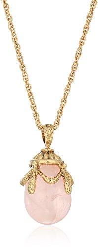 1928 Jewelry 14k Gold-Dipped Semi-Precious Rose Quartz Egg Pendant Necklace, 30