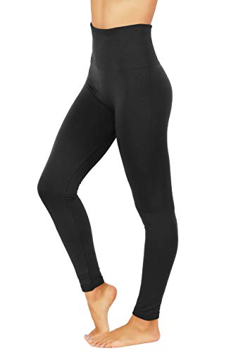 Shorts Thermal Lined (Fit Division Women`s Pants Buttery Soft Fleece Leggings High Waist Winter Thermal (S/M (one Size) US 2-8, FD538-BLK))